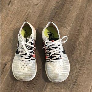 Nike free flyknit running shoes- grey/black/orange